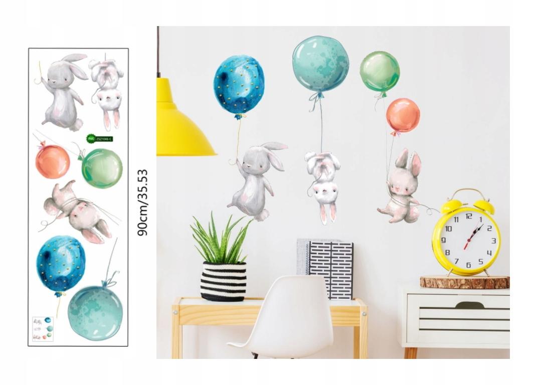 Наклейки на стену зайчики и воздушные шары для детей
