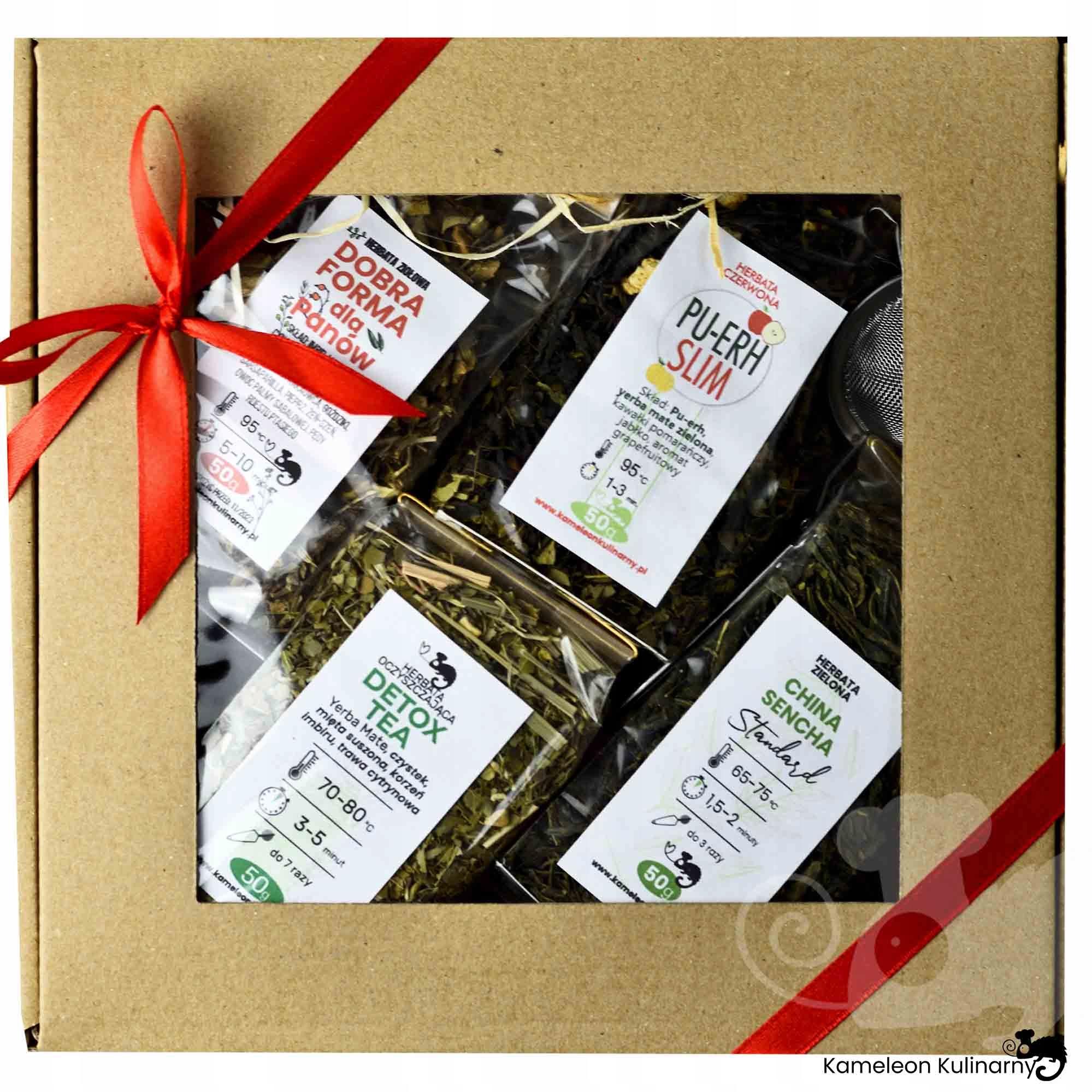 ZESTAW PREZENTOWY na prezent 4 herbaty i zaparzacz EAN 5904119220302