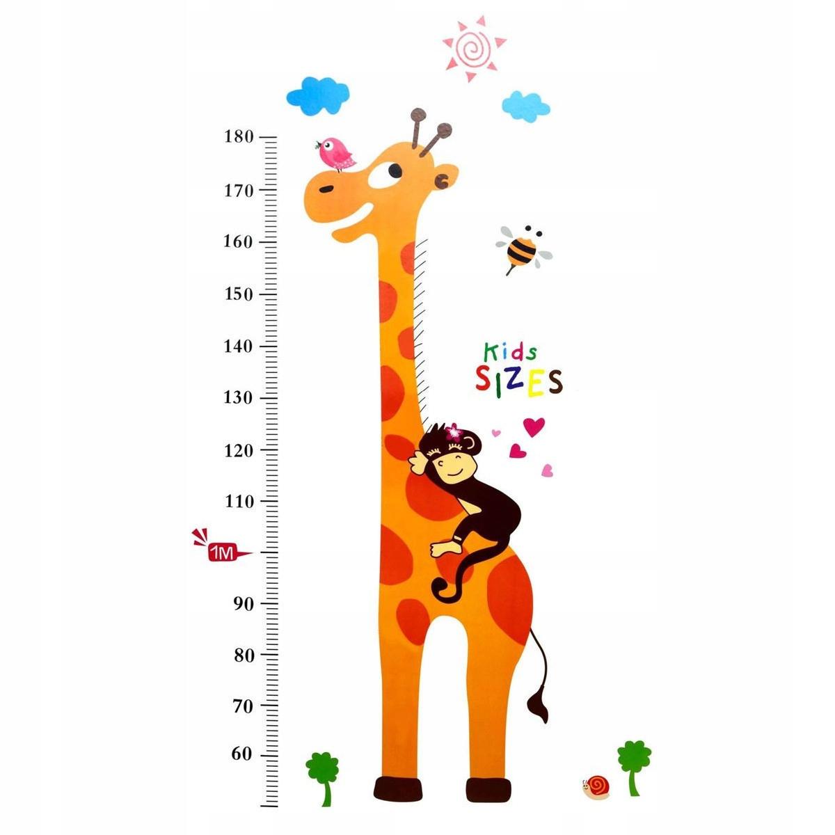Наклейки на стену с измерением роста жирафа