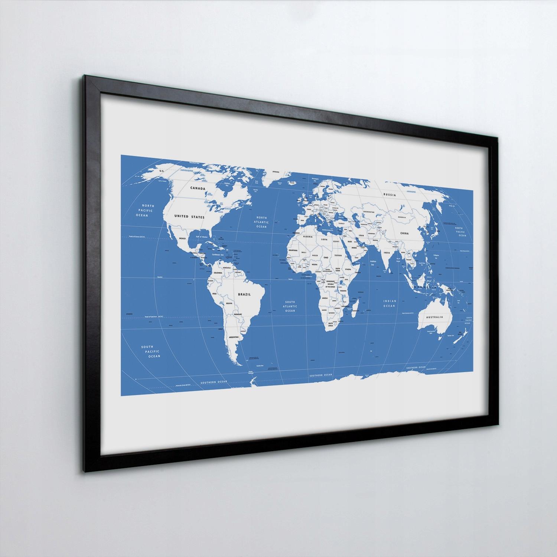 Obraz w ramie na ścianę Mapa kontynentalna 60x40
