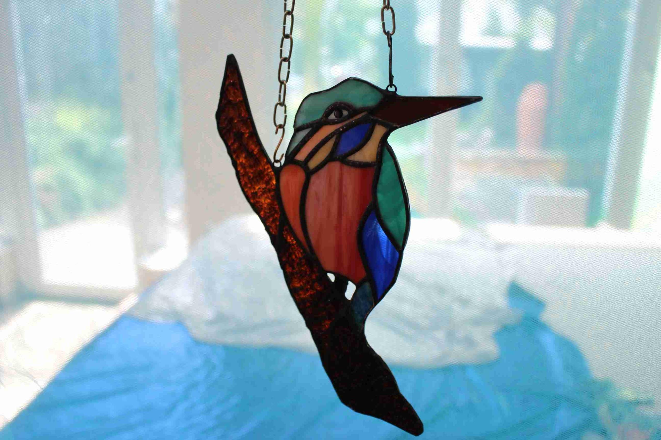 Зимородок птица витраж Тиффани украшение на окно