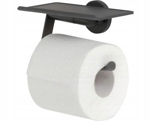 Držiak na toaletný papier Tiger Noon s čiernou poličkou
