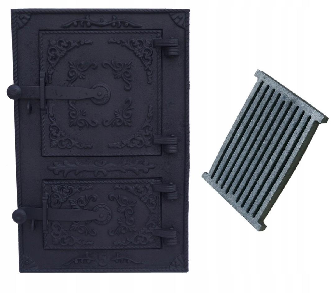 liatinové dvere do ohniska fajčiarskej pece 44X29cm Kód produktu DOOR FURNACE + ASHBOX CAST IRON GRAT