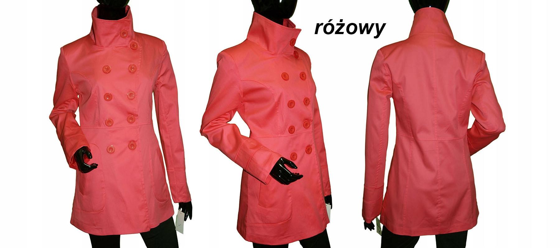 Płaszcz Bawełna trencz wiosna 40 42 XL różowy