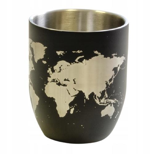 Стальная кружка 380 мл с рисунком карты мира - черный