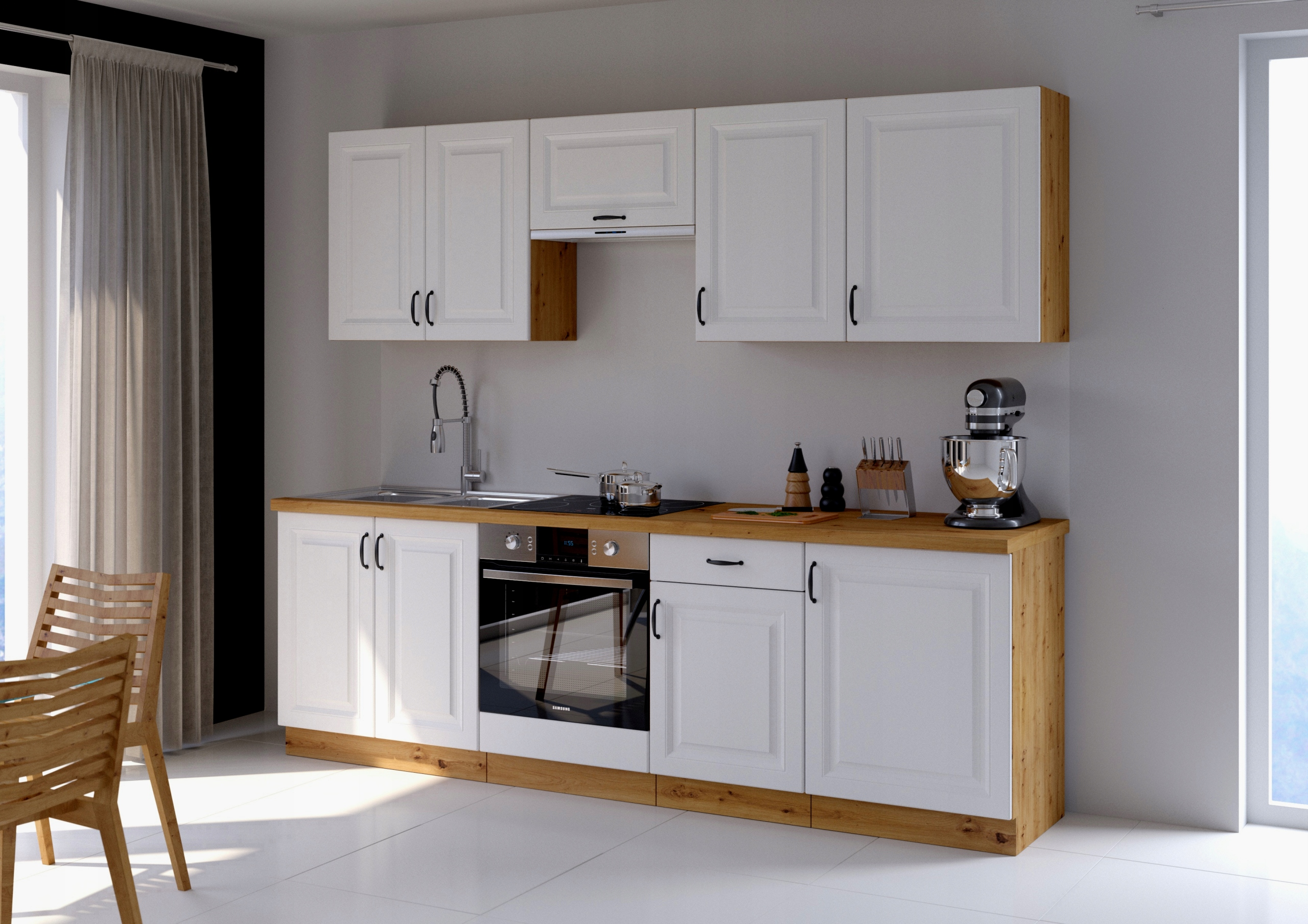 sada kuchynského nábytku RETRO 250cm BIELY MAT