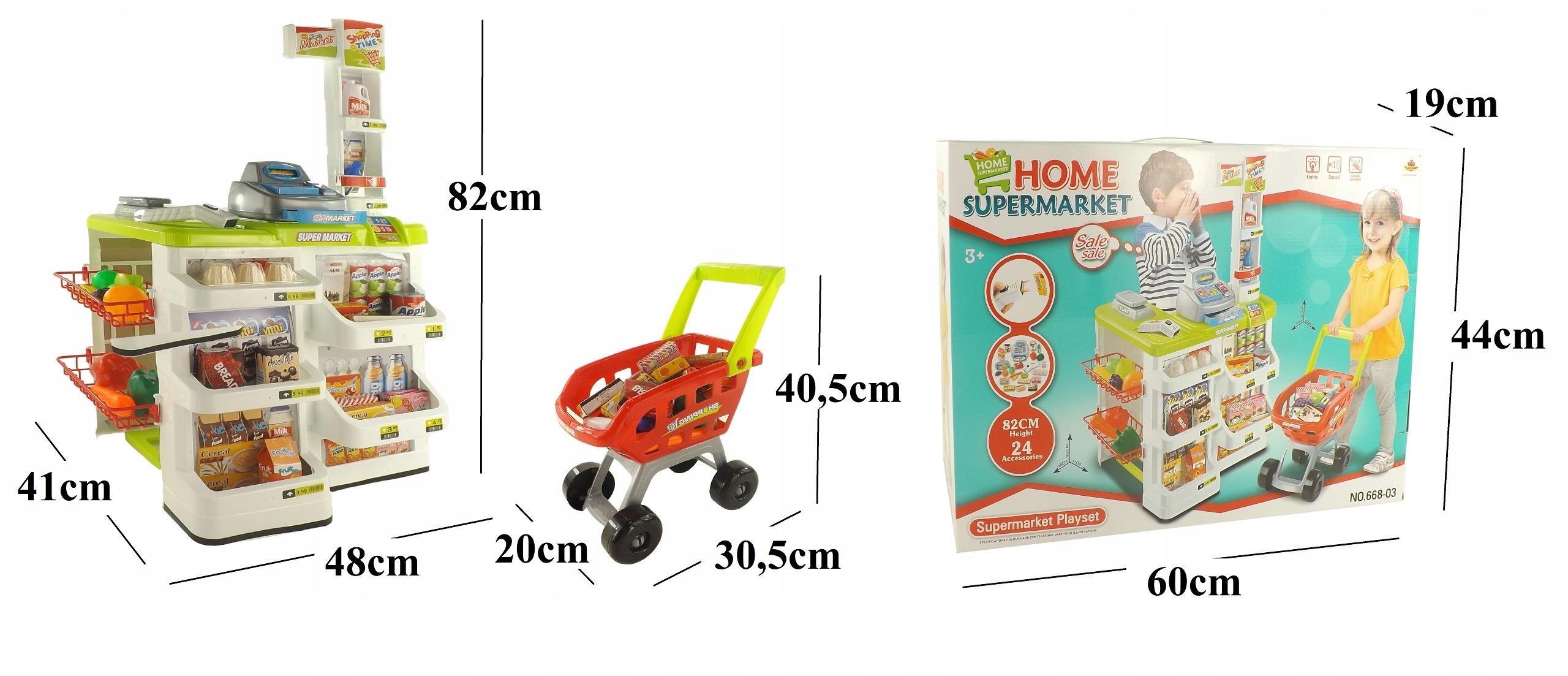 SUPERMARKET SKLEP WÓZEK NA ZAKUPY KASA WAGA 68803Z Wysokość produktu 82 cm