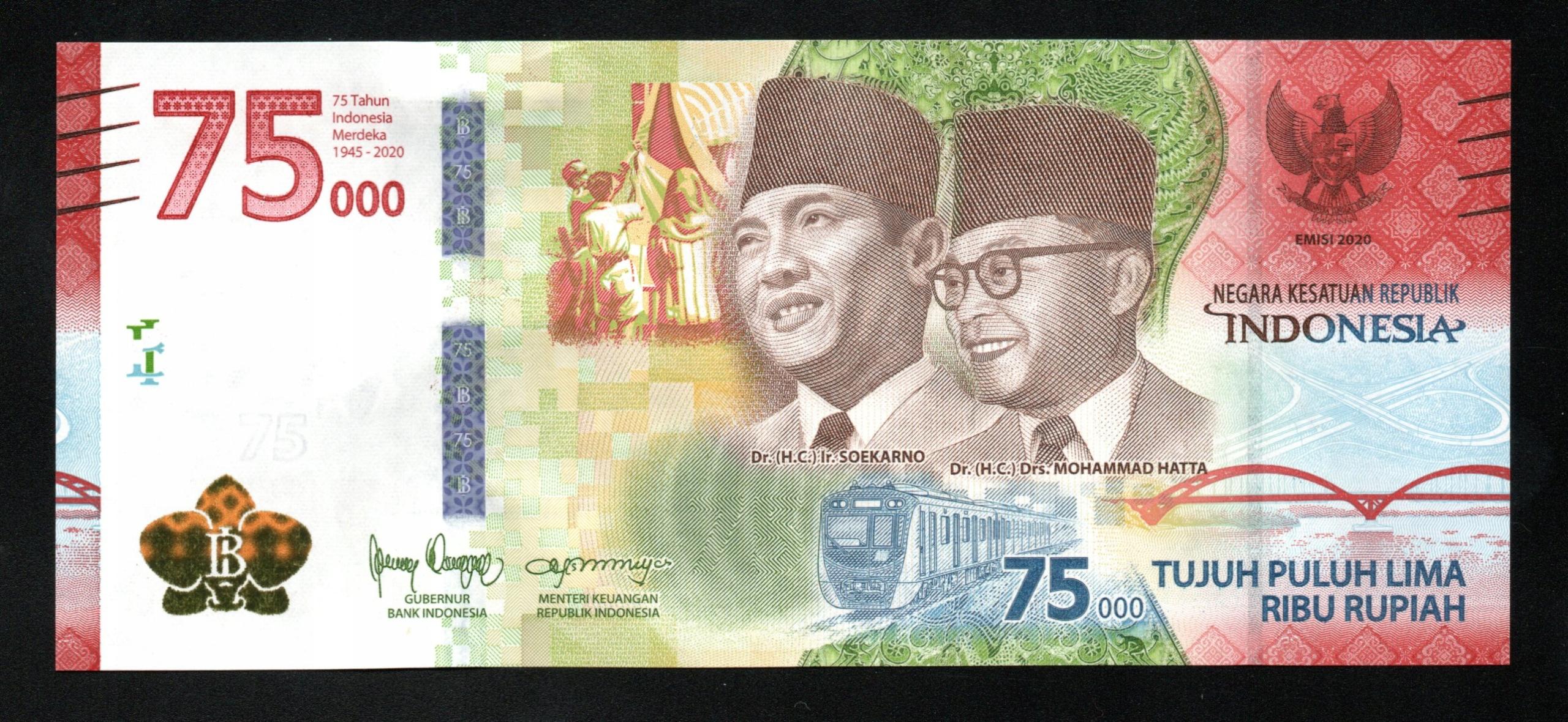 Индонезия 75000 RUPIAH P-161a UNC 2020 серии BAV