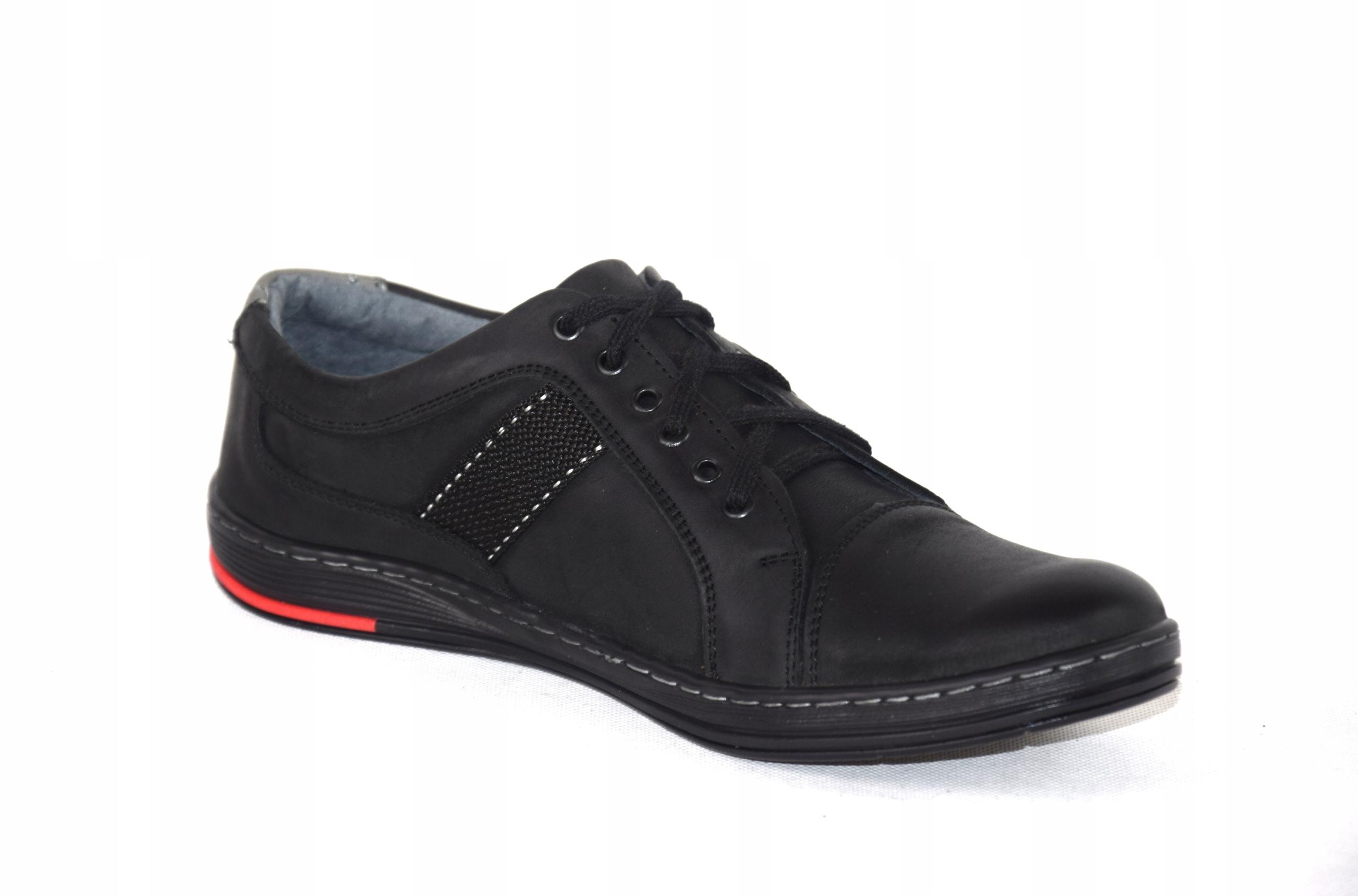 Półbuty czarne trampki skórzane buty polskie A238 Marka inna
