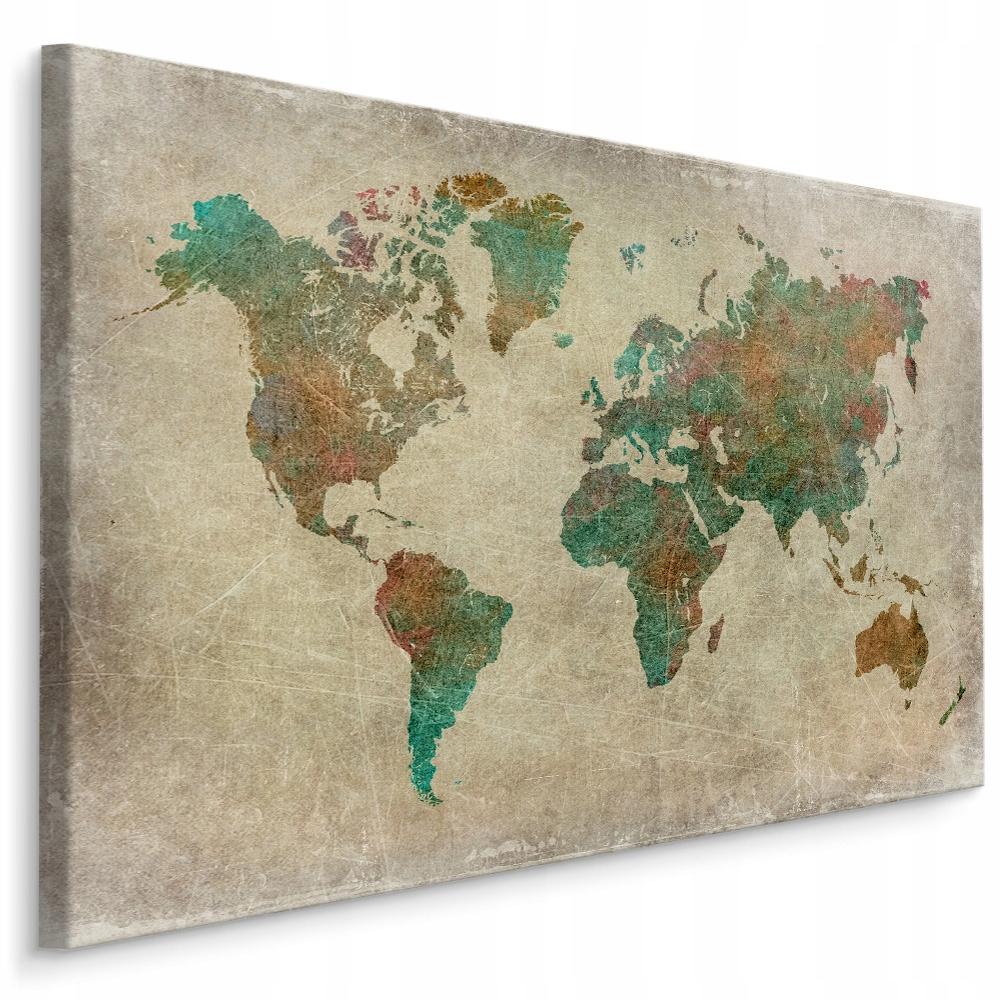 Obraz na plátne do obývacej izby - farebná retro mapa sveta 90x60