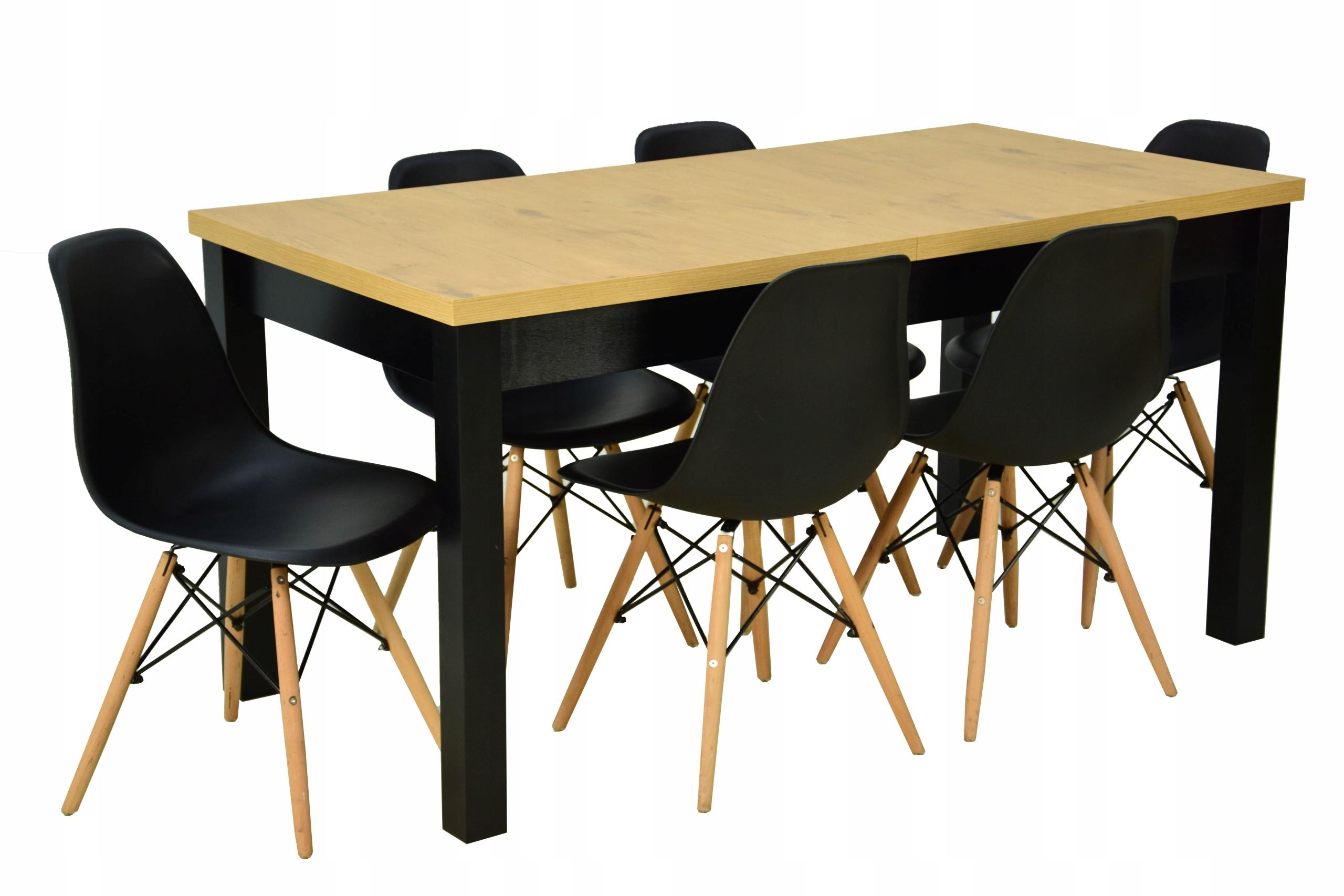Stół rozkładany Czarny Dąb 80x160/200 6 Krzeseł
