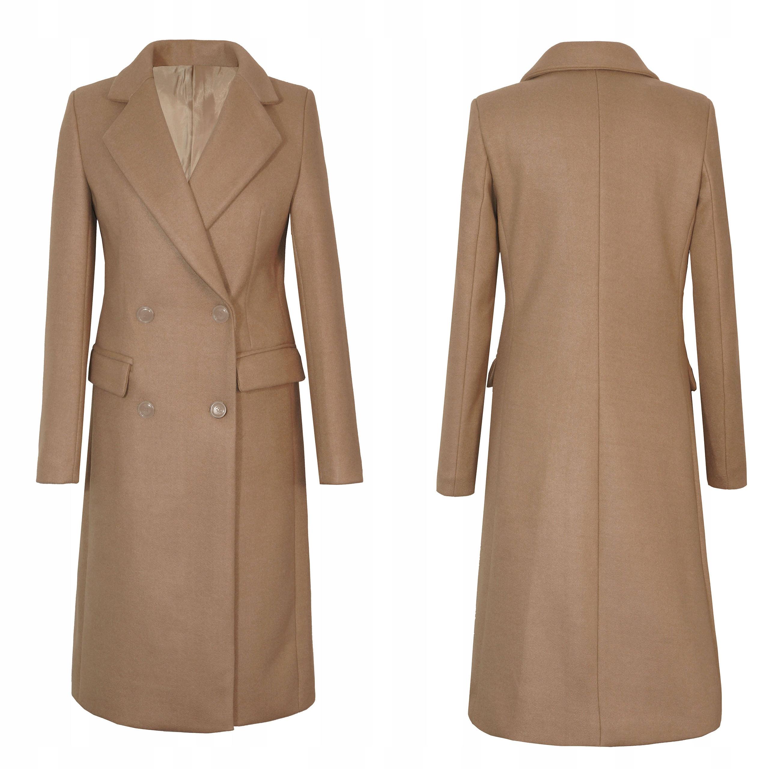 Elegancki Długi klasyczny Płaszcz M 38 Camel