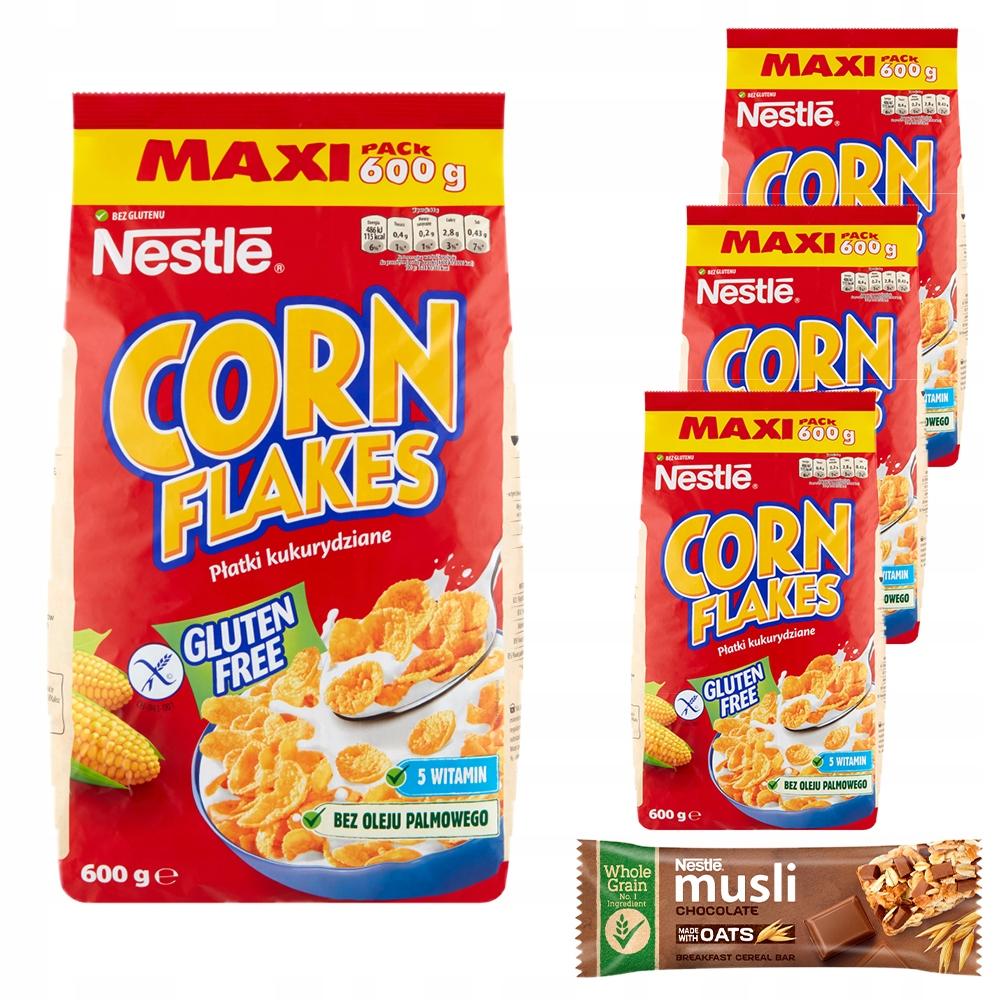 Кукурузные хлопья Nestle Corn Corn Flakes 4 x 600 г + БЕСПЛАТНО