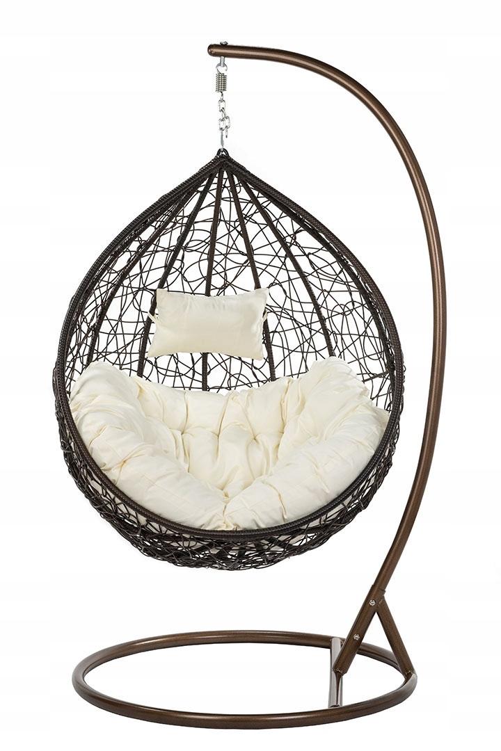 Fotel wiszący ogrodowy XXXL kokon brąz