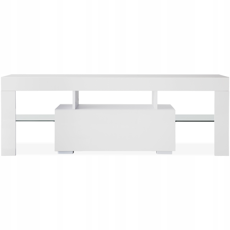 Белая тумба под ТВ с базой для хранения вещей