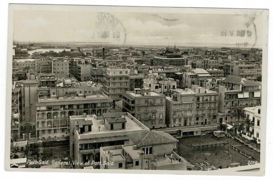 Pocztówka Egipt 1937 obieg Port Said widok ogólny