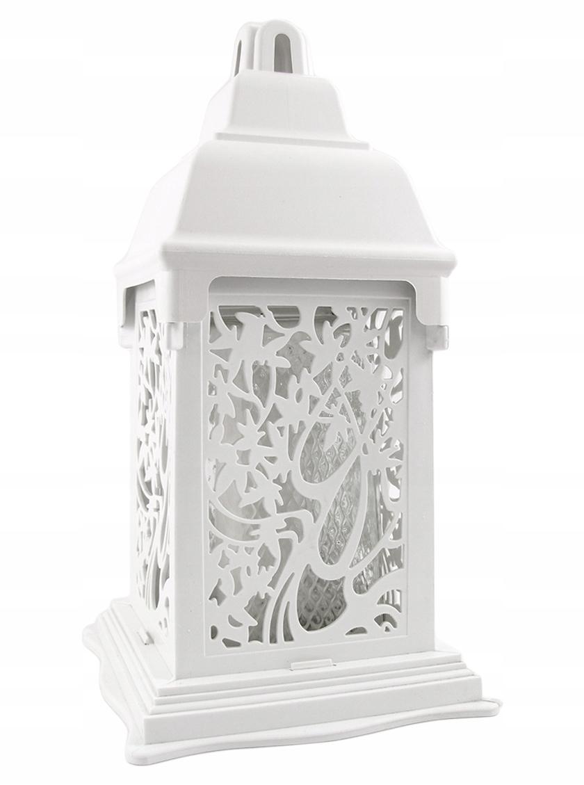 Lucerna, sviečka, biela kaplnka, lampáš, rám z farebného skla