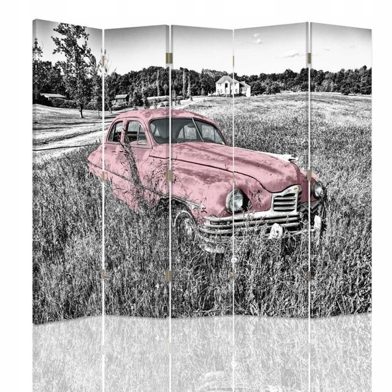 Izbová obrazovka, ružové auto v retro poli 180x150