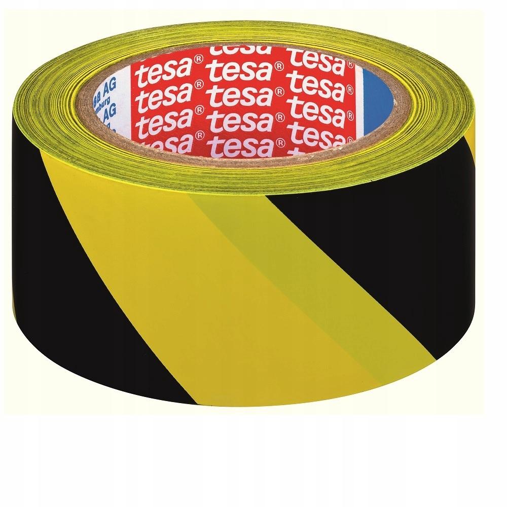 Предупреждающая лента tesa желтый черный 33m 50mm