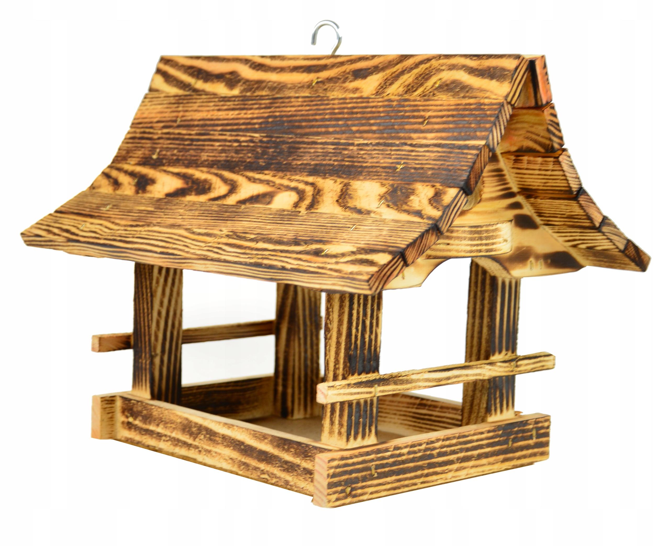 Drewniany KARMNIK DLA PTAKÓW z drewna opalanego