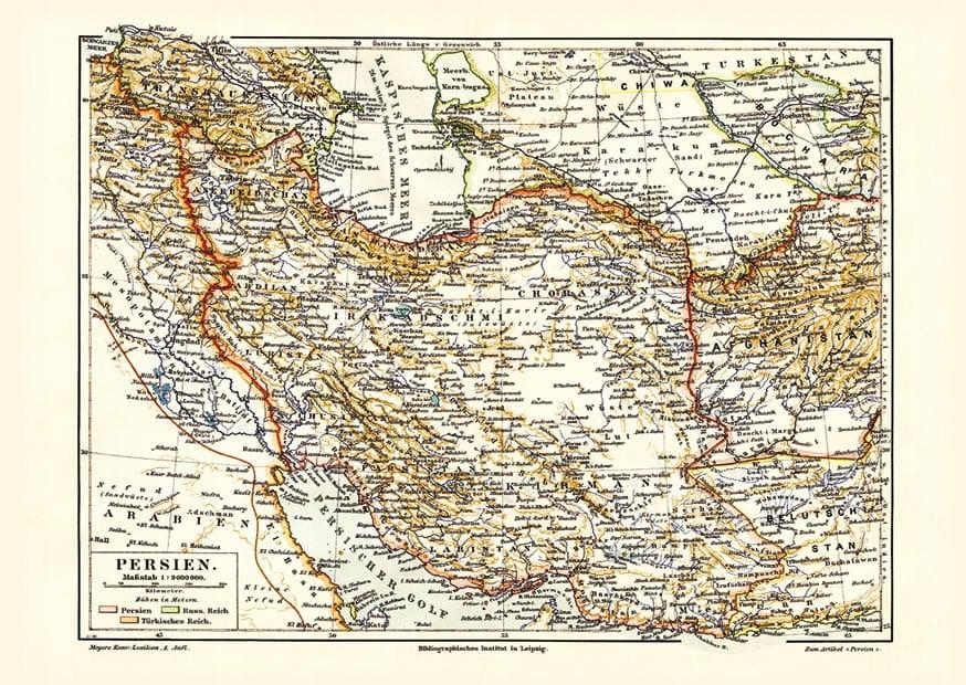 Mapa Iránu (Perzia)