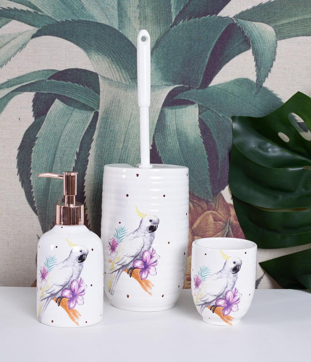 Botanická kúpeľňová súprava z bieleho porcelánu