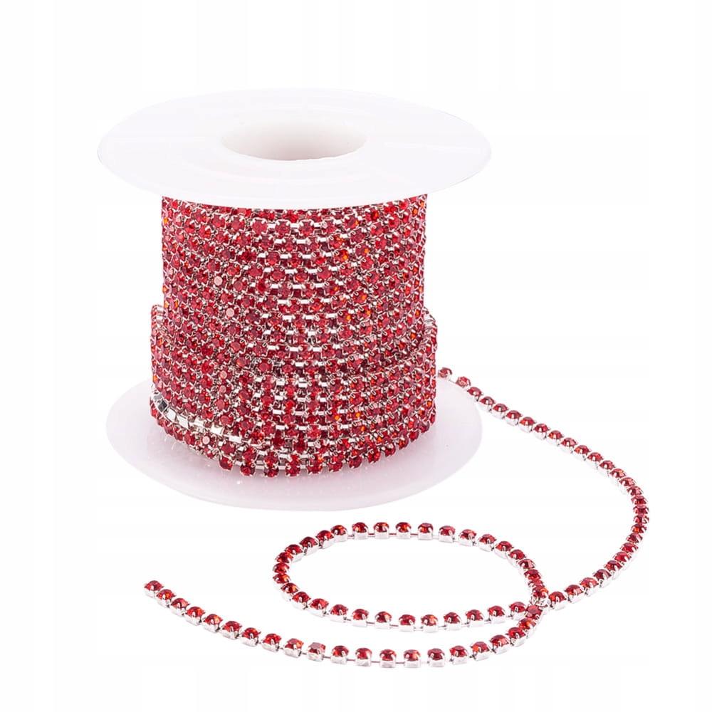 tb33 Taśma biżuteryjna z cyrkoniami ss6 red 0.5m