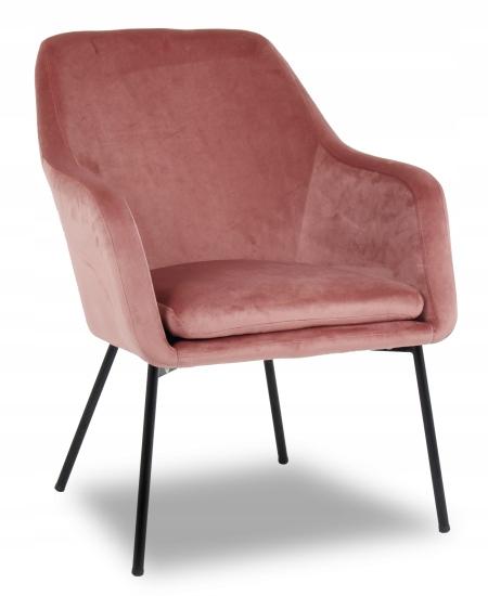 Fotel tapicerowany Baron velvet ciemny różowy