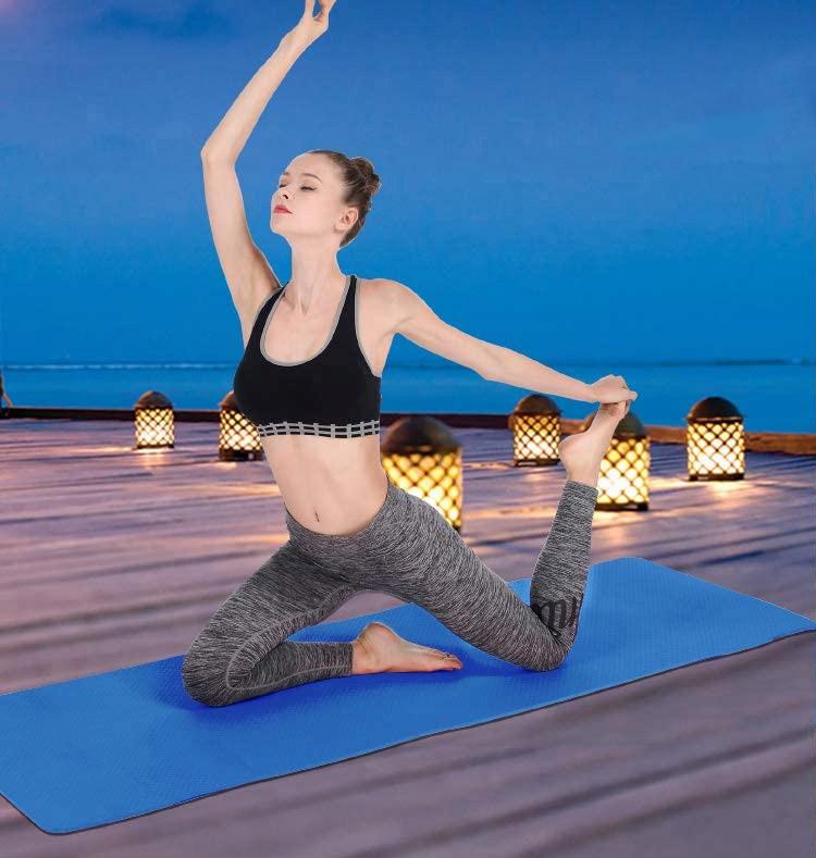 Mata do ćwiczeń fitness jogi antypoślizg karimata Kolor dominujący niebieski