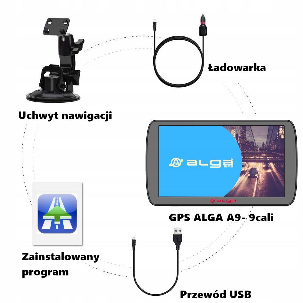 """Nawigacja GPS ALGA A9 + AutoMapa licencja 9"""" Kolor czarny"""