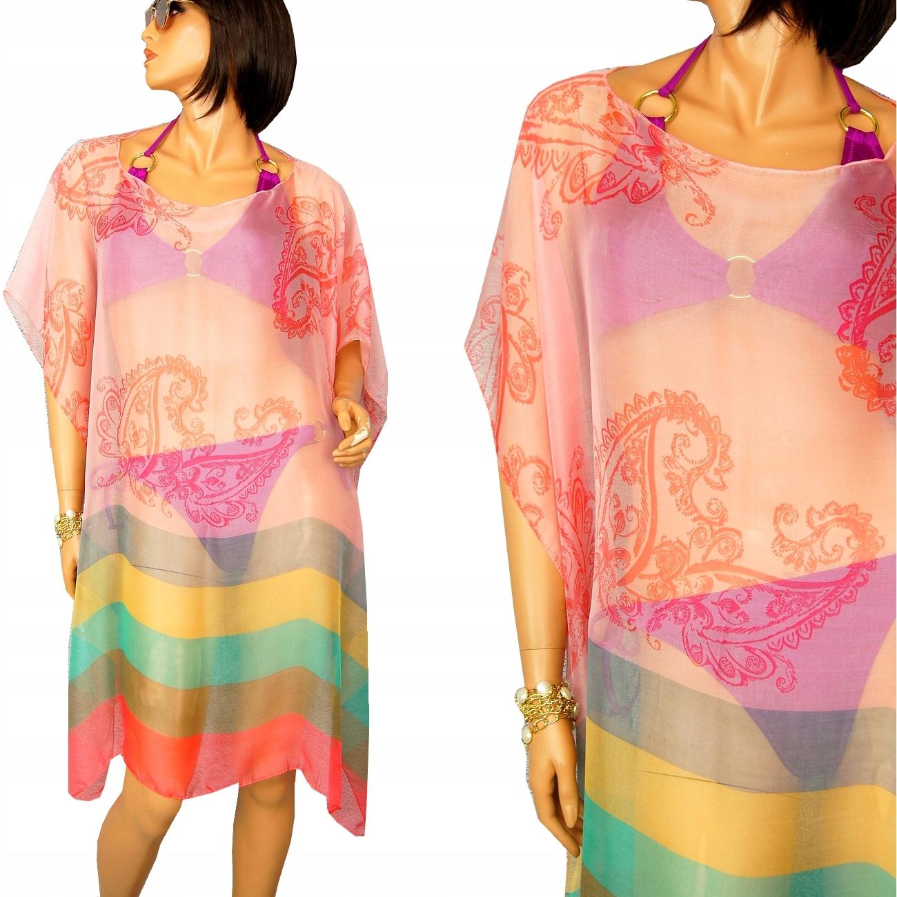 PAREO PLAŻOWE STRÓJ chusta sukienka TUNIKA KOLORY