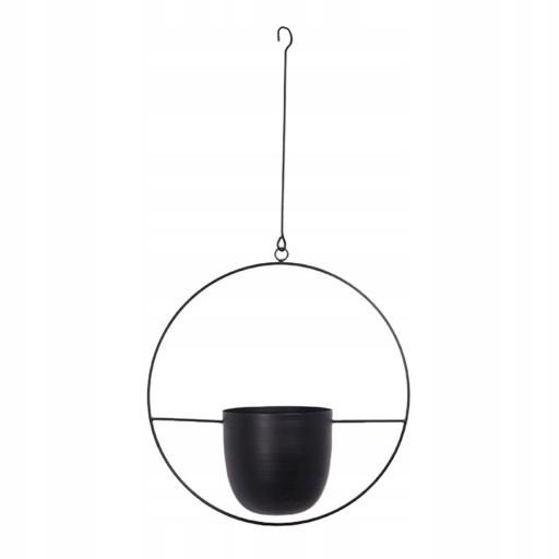 подвесная корзина для цветочных горшков - круглая черная