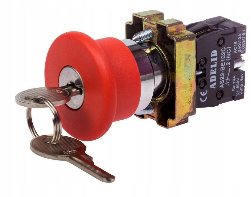 Kovové hubové bezpečnostné tlačidlo s kľúčom