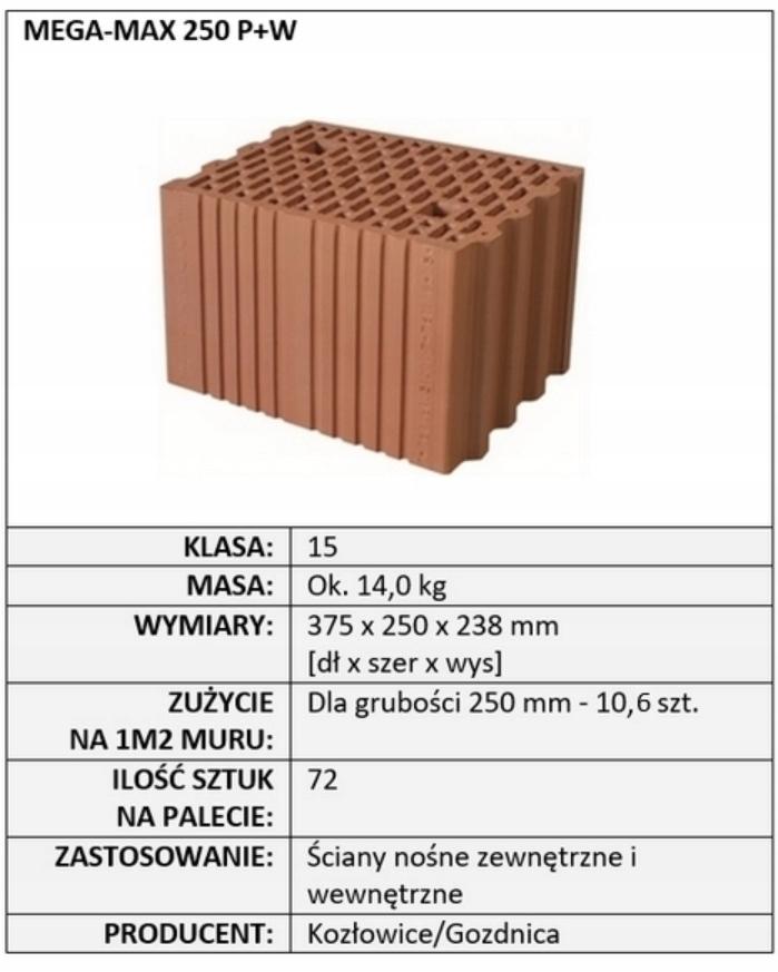 Pustak ceramiczny CERPOL MEGA MAX 25 P+W