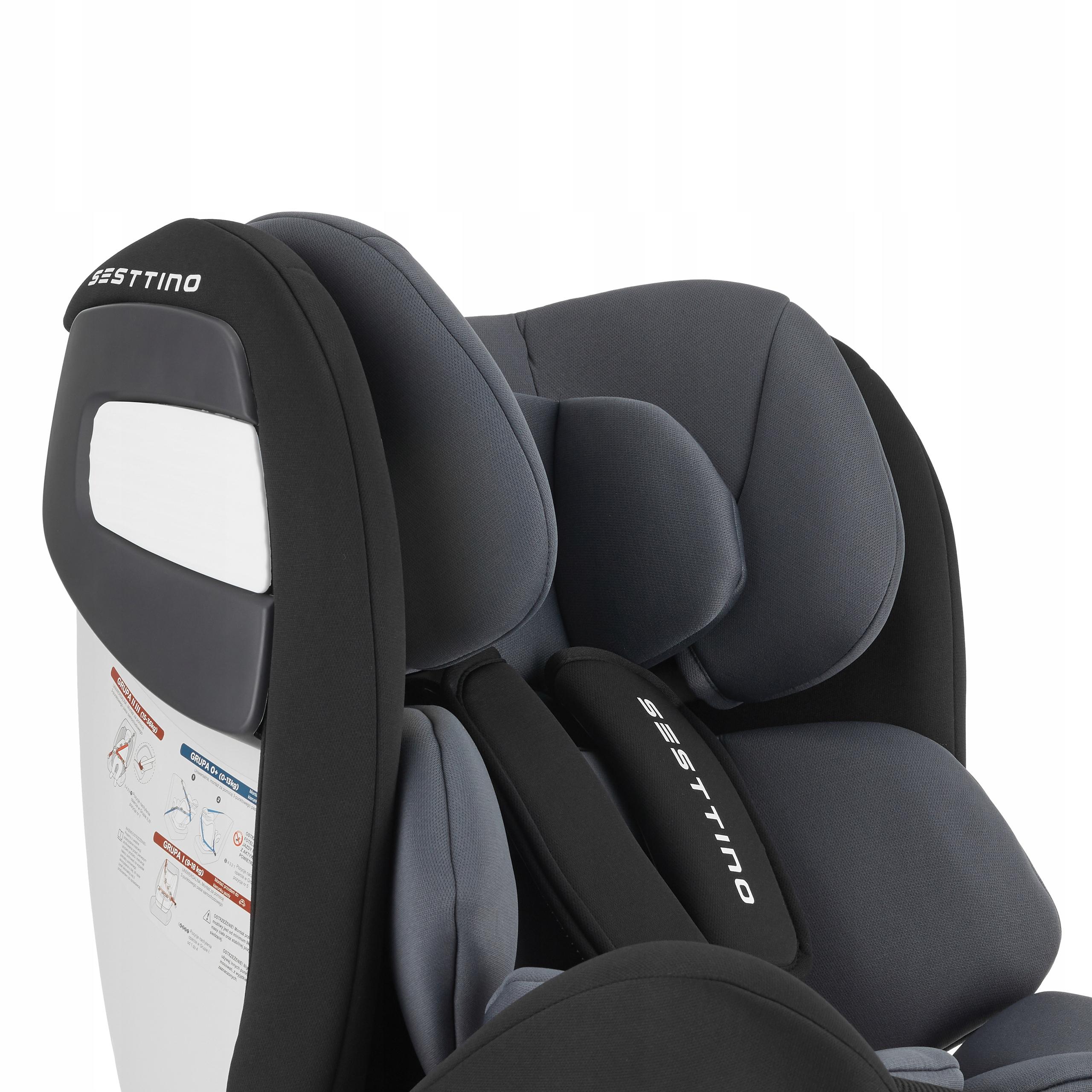Fotelik Samochodowy Sesttino Route ISOFIX 0-36kg Informacje dodatkowe Isofix Regulacja pozycji dziecka Regulacja siedziska Regulacja zagłówka Zdejmowana tapicerka