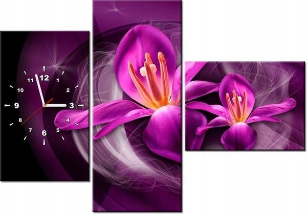 100cm 70cm Zegar 3 elem Różowe kosmiczne kwiaty Ja