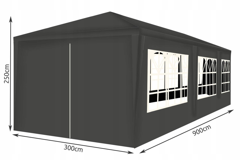 Obchodný stan Záhradný pavilón 3x9m + 8 stien. Počet bočných stien 8 stien