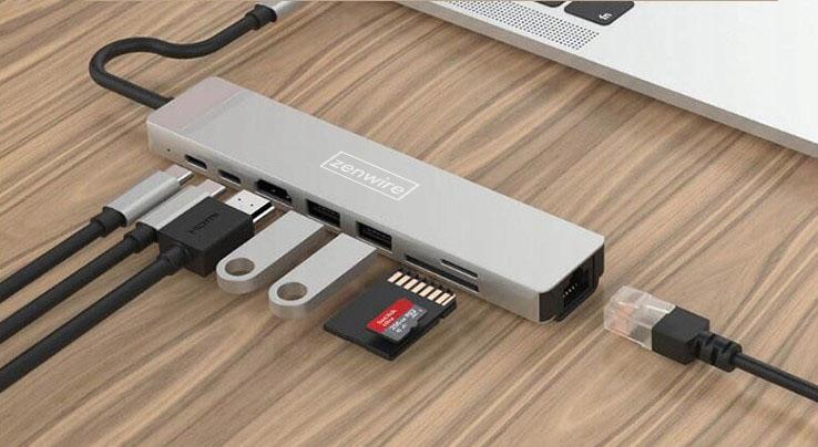 ADAPTER HUB 9w1 USB-C HDMI RJ45 Ethernet SD Mac M1 EAN 0606707947923