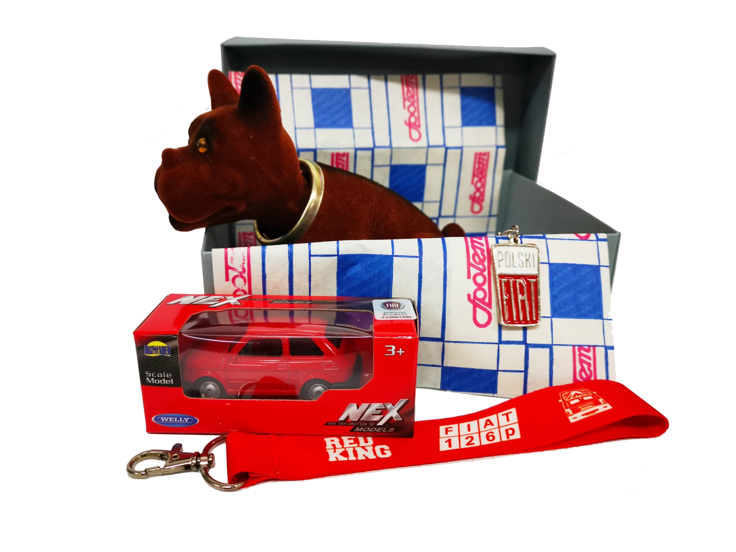 Retro BOX darček Fiat 126p pes + vychytávky