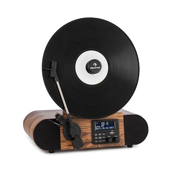 Retro gramofónové rádio DAB + USB BT drevo AUX VÝSTUP