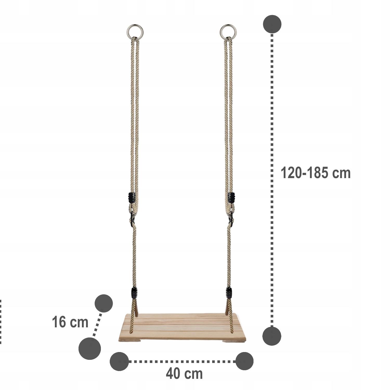 Detská hojdačka WOOD PREMIUM SEAT + úchytky Šírka produktu 40 cm