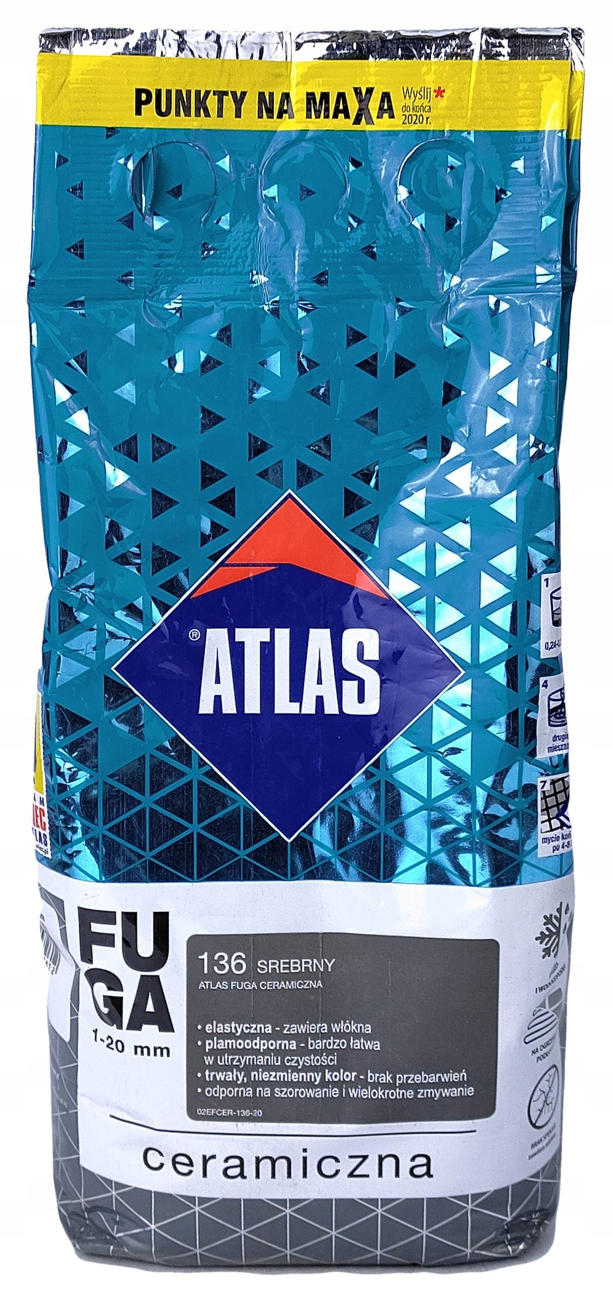 ATLAS FUGA CERAMICZNA DO PŁYTEK SREBRNY 136 2kg