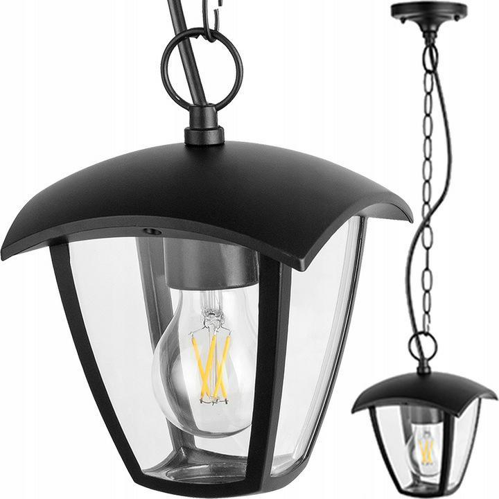 VONKAJŠIA Závesná záhradná lampa čierna