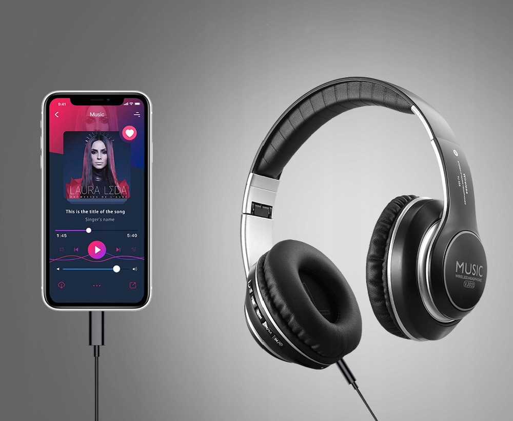 LED BLUETOOTH HEADPHONES TRÅDLØS MP3 FM -merke Trådløs