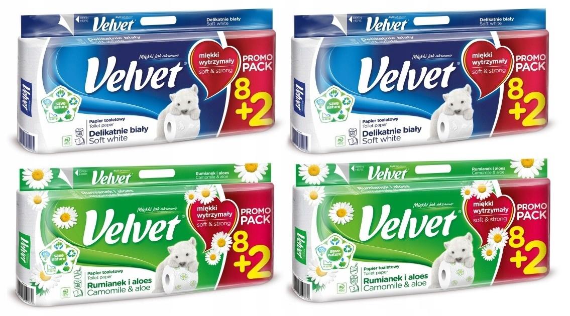 Туалетная бумага Velvet с РОМАШКОЙ + SOFT 40 роликов