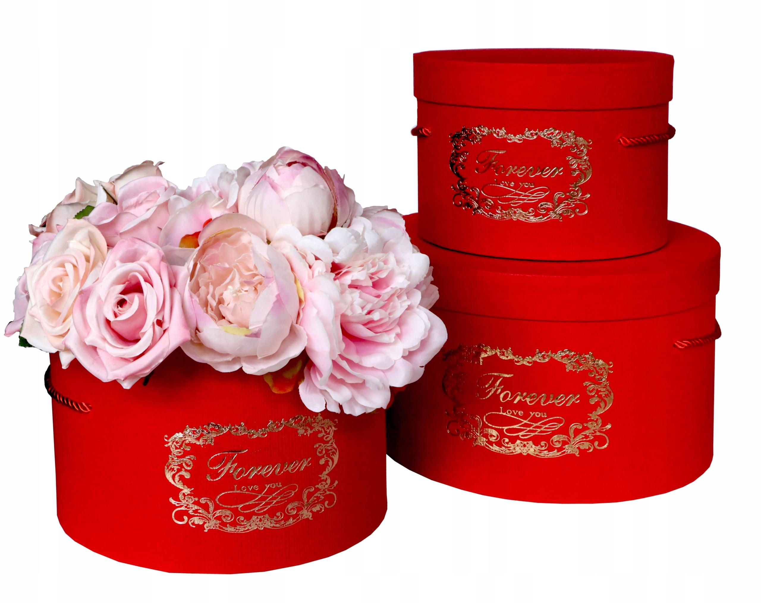 Коробка для цветов, 3 шт красная