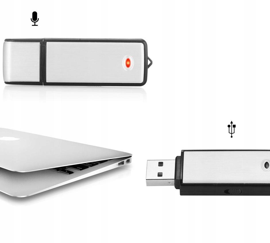 MINI DYKTAFON PENDRIVE PODSŁUCH SZPIEGOWSKI USB Wbudowana pamięć 8 GB