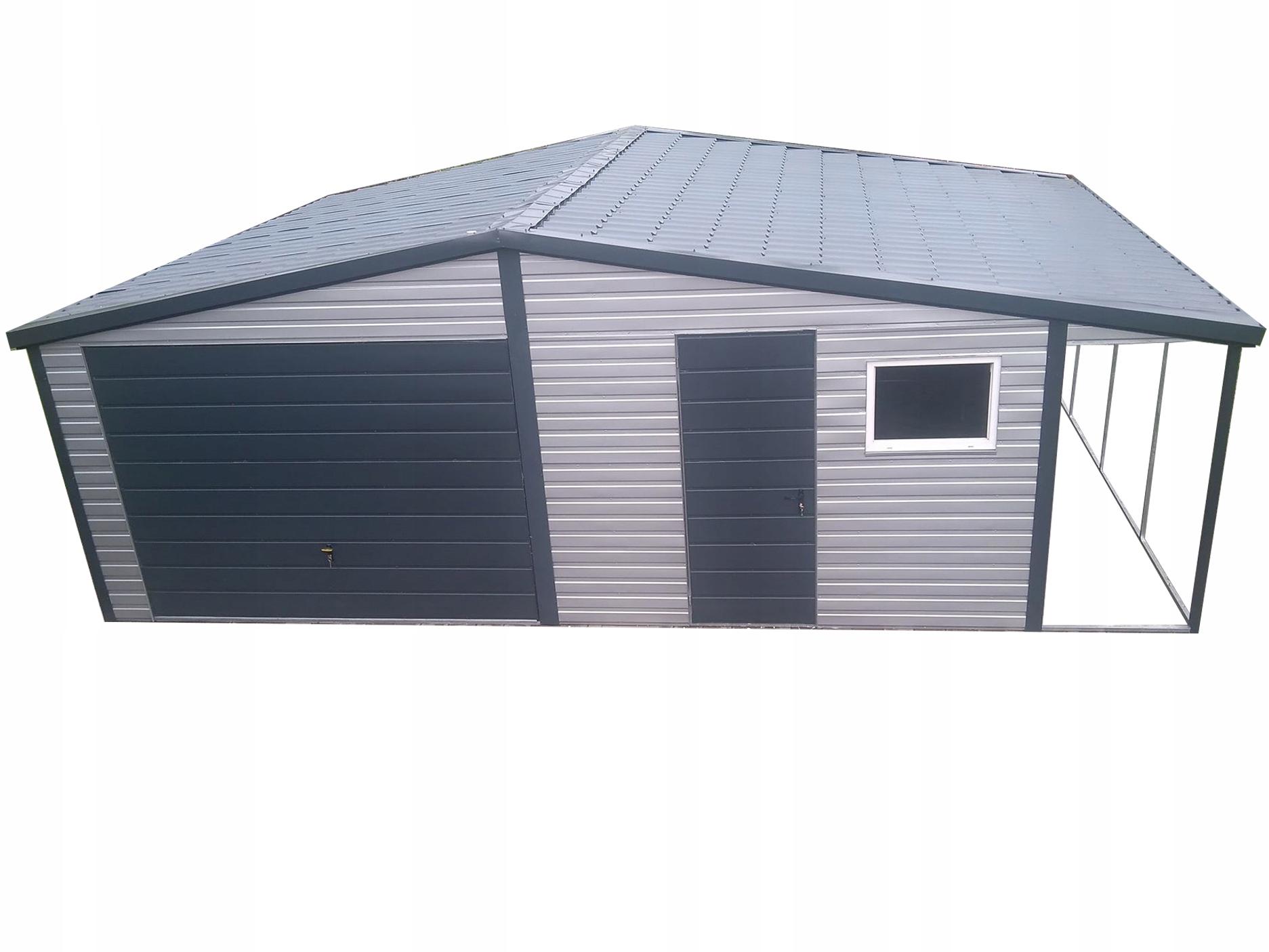 Garaż blaszany 6,5x5 blaszak wiata obróbki grafit