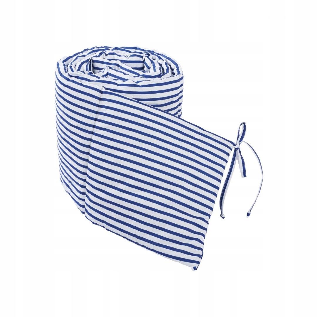 Ochraniacz na boki łóżeczka w niebieskie paski