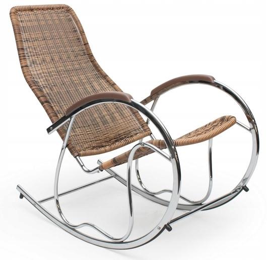 Кресло-качалка VENUS 2 Brown Rattan Chrome Skids